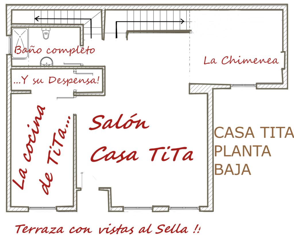 Plano de la planta baja de la casa rural tita
